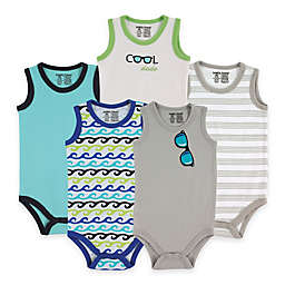 BabyVision® Luvable Friends® 5-Pack Sunglasses Sleeveless Bodysuits in Blue