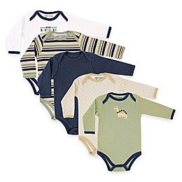 BabyVision® Luvable Friends® 5-Pack Dinosaur Long Sleeve Bodysuits in Green