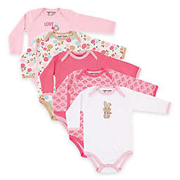 BabyVision® Luvable Friends® 5-Pack Bunny Long Sleeve Bodysuits in Pink
