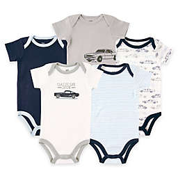 BabyVision® Hudson Baby® Size 9-12M 5-Pack Car Short Sleeve Bodysuits in Blue