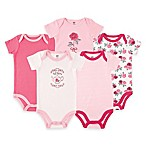 BabyVision® Size 0-3M 5-Pack Tea Roses Short Sleeve Bodysuits in Pink