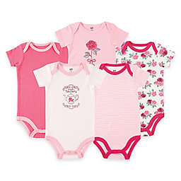 BabyVision® 5-Pack Tea Roses Short Sleeve Bodysuits in Pink