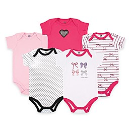 BabyVision® Hudson Baby® 5-Pack Bows Short Sleeve Bodysuits in Pink