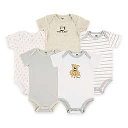 BabyVision® Hudson Baby® 5-Pack Bear Short Sleeve Bodysuits in Grey