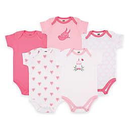 BabyVision® Hudson Baby® 5-Pack Bird Cage Short Sleeve Bodysuits in Pink