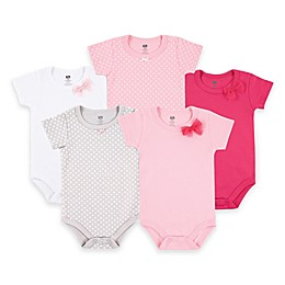 BabyVision® Hudson Baby® 5-Pack Basic Bow Bodysuits in Pink