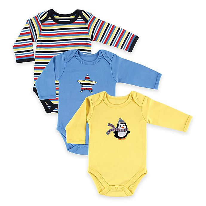 Alternate image 1 for BabyVision® Hudson Baby® Size 6-9M 3-Pack Penguin Long Sleeve Bodysuits in Yellow