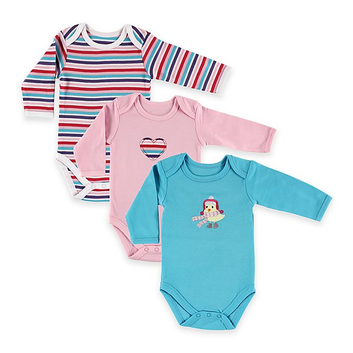 Alternate image 1 for BabyVision® Hudson Baby® Size 0-3M 3-Pack Bird Long Sleeve Bodysuits in Pink