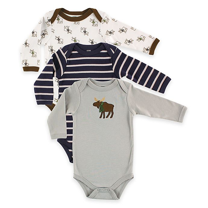 83ca16afb6d8 BabyVision® Hudson Baby® 3-Pack Moose Long Sleeve Bodysuits in Grey ...