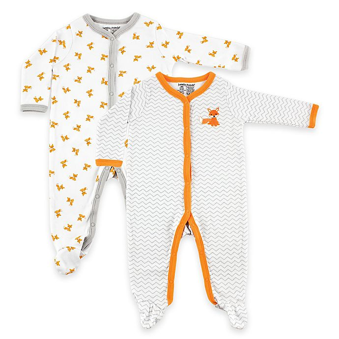 Alternate image 1 for BabyVision® Luvable Friends® 6-9 Months 2-Pack Fox Snap-Front Footies in White/Orange