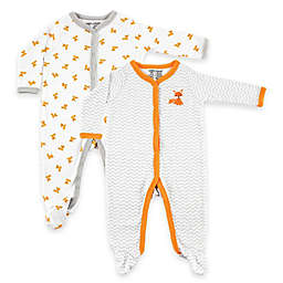 BabyVision® Luvable Friends® 6-9 Months 2-Pack Fox Snap-Front Footies in White/Orange