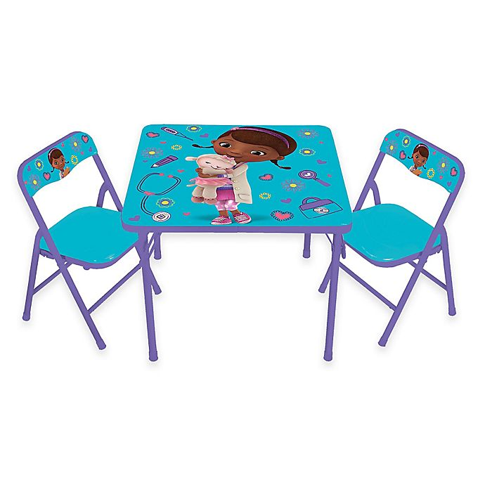 Doc Mcstuffins 3 Piece Activity Table And Chairs Set Bed