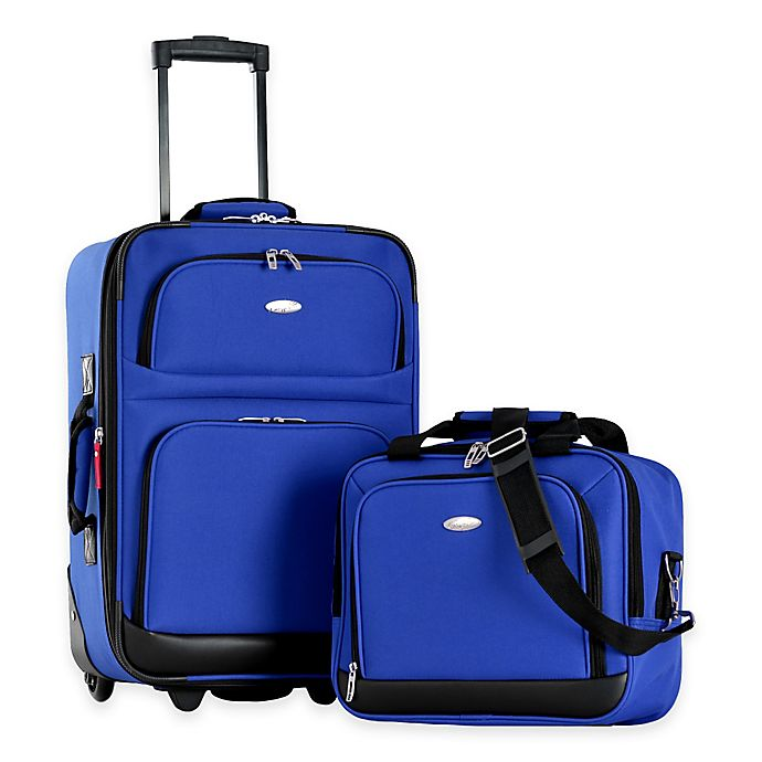 Alternate image 1 for Olympia® USA Let's Travel! 2-Piece Rolling Carry On Luggage Set