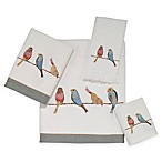 Bird on a Wire Washcloth in White