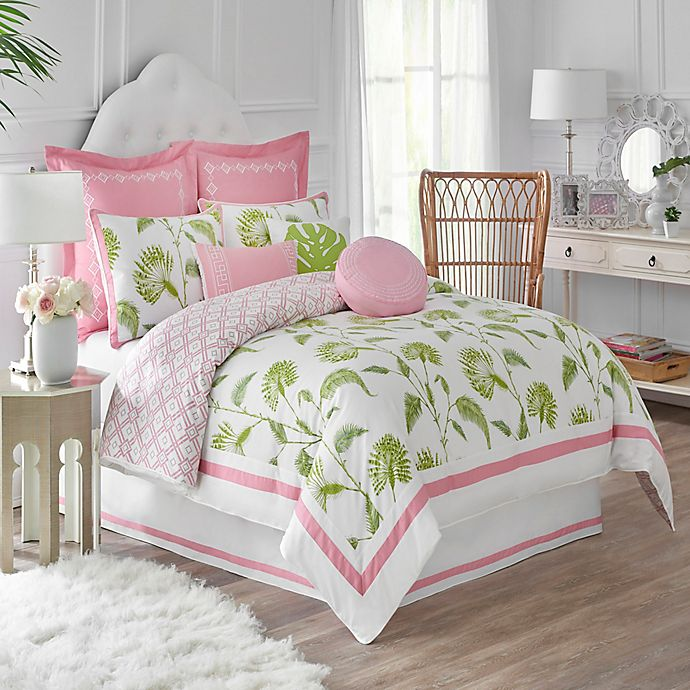 Alternate image 1 for Dena™ Home Palm Court Reversible Duvet Cover in White/Pink