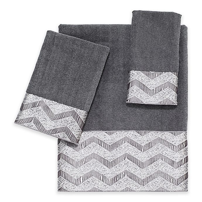 Alternate image 1 for Avanti Chevron Nickel Bath Towel Collection