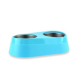 Chilled Double Pet Bowl in Blue