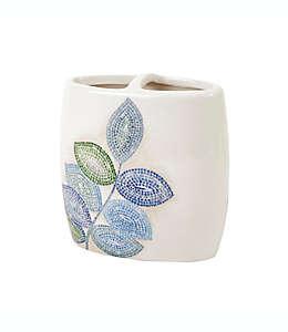 Portacepillos de dientes de cerámica Croscill® Mosaic Leaves color azul spa