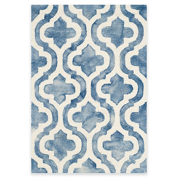 Alternate image 1 for Safavieh Dip Dye Double Trellis 2-Foot x 3-Foot Accent Rug in Blue/Ivory