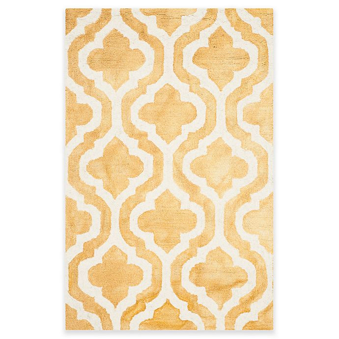 Alternate image 1 for Safavieh Dip Dye Double Trellis 2-Foot 6-Inch x 4-Foot Accent Rug in Gold/Ivory
