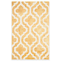 Safavieh Dip Dye Double Trellis 2-Foot 6-Inch x 4-Foot Accent Rug in Gold/Ivory