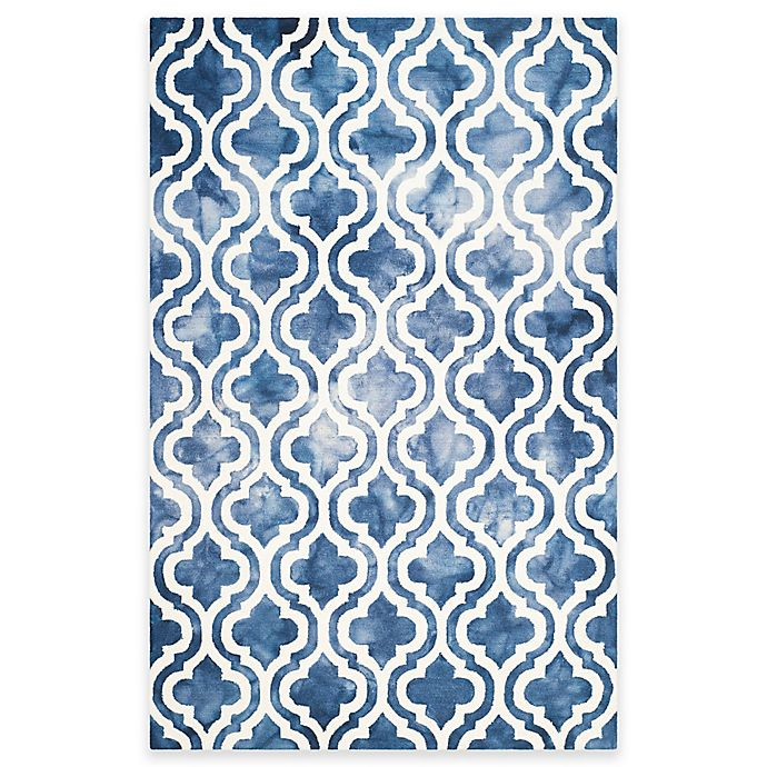 Alternate image 1 for Safavieh Dip Dye Double Trellis 3' x 5' Area Rug in Navy/Ivory