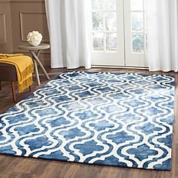 Safavieh Dip Dye Double Trellis Wool Area Rug in Navy