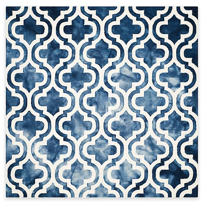 Alternate image 1 for Safavieh Dip Dye Double Trellis 7-Foot Square Area Rug in Navy/Ivory