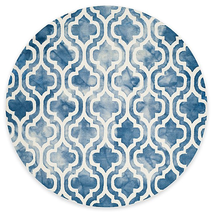 Alternate image 1 for Safavieh Dip Dye Double Trellis 7-Foot Round Area Rug in Blue/Ivory