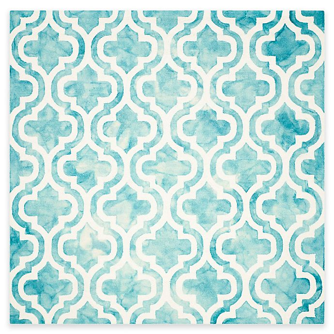 Alternate image 1 for Safavieh Dip Dye Double Trellis 7-Foot Square Area Rug in Ivory/Turquoise