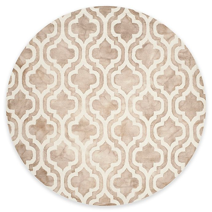 Alternate image 1 for Safavieh Dip Dye Double Trellis 7-Foot Round Area Rug in Beige/Ivory