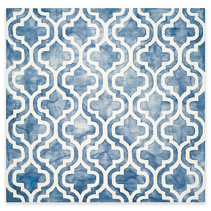 Alternate image 1 for Safavieh Dip Dye Double Trellis 7-Foot Square Area Rug in Blue/Ivory