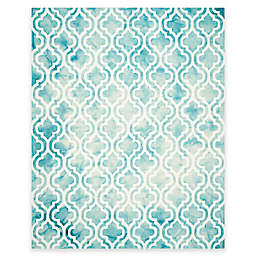 Safavieh Dip Dye Double Trellis 9-Foot x 12-Foot Area Rug in Ivory/Turquoise