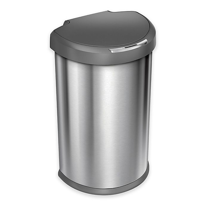 Alternate image 1 for simplehuman®  Brushed Stainless Steel Fingerprint-Proof 45-Liter Semi-Round Sensor Trash Can