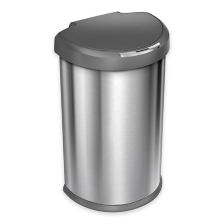 simplehuman Brushed Stainless Steel Fingerprint-Proof 45-Liter Semi-Round Sensor Trash Can
