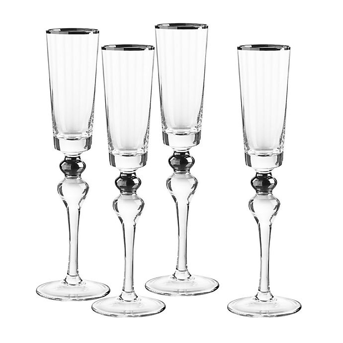 Alternate image 1 for Qualia Dominion Champagne Flutes in Platinum (Set of 4)