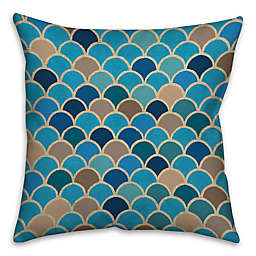 Waves 16-Inch Square Throw Pillow in Blue/Beige