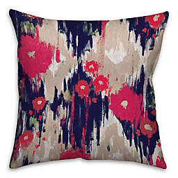 Drippy Ikat Flowers Square Pillow