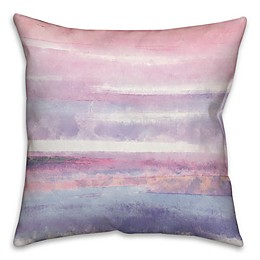 Watercolor Stripes Square Throw Pillow in Pink