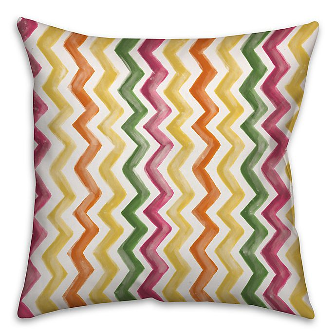 Alternate image 1 for Watercolor Zigzag 16-Inch Square Throw Pillow