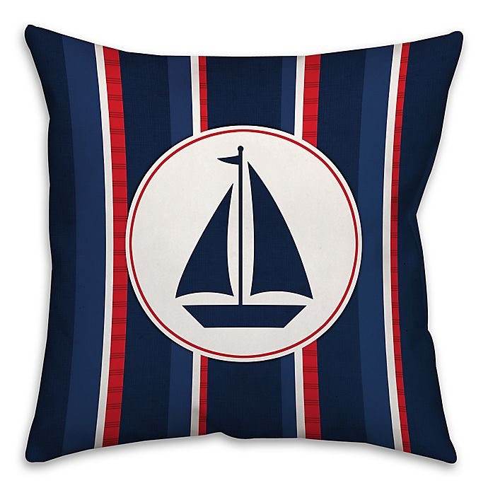 Alternate image 1 for Nautical Sail Boat Square Throw Pillow