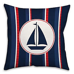 Nautical Sail Boat 16-Inch Square Throw Pillow