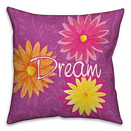 Dream Flowers Throw Pillow in Purple/Pink/Yellow