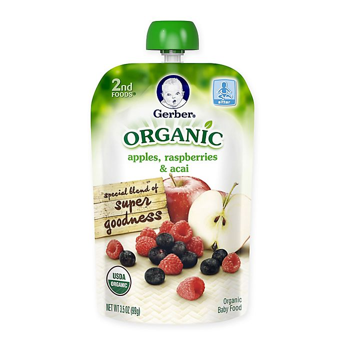Alternate image 1 for Gerber® 2nd Foods® Organic 3.5 oz. Apples, Raspberries and Acai