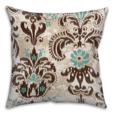 Ikat 18 Inch X 18 Inch Throw Pillow In Brownturquoise Bed Bath