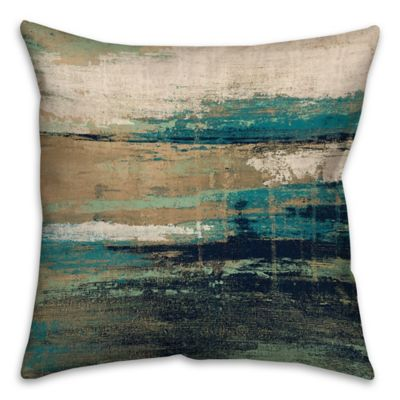 Abstract 18 Inch Square Throw Pillow in Blue/Brown | Bed Bath & Beyond