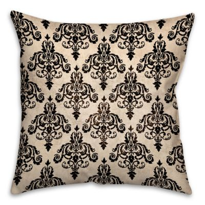 Black and White Damask Throw Pillow