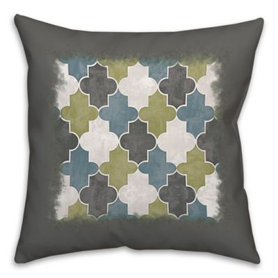 Geo Trend Square Throw Pillow in Green/Grey | Bed Bath & Beyond