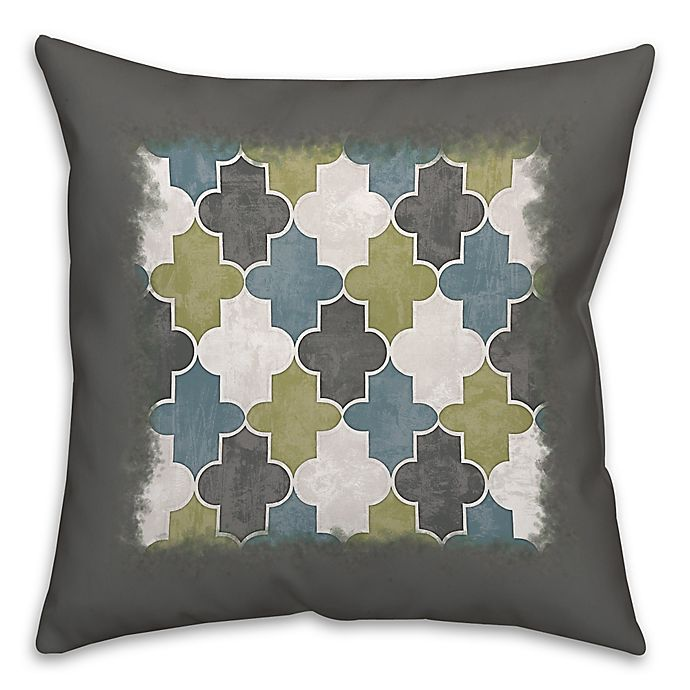 Alternate image 1 for Geo Trend 16-Inch Square Throw Pillow in Green/Grey