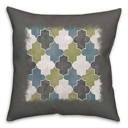 Geo Trend 16-Inch Square Throw Pillow in Green/Grey